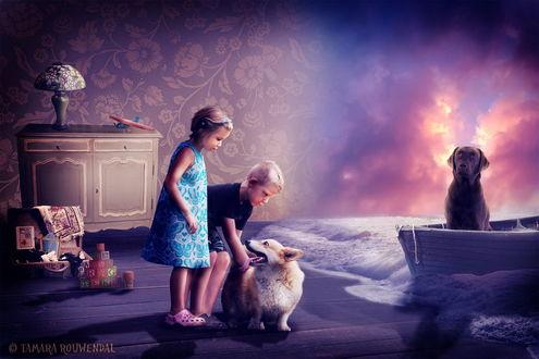 Обои Девочка и мальчик, стоящие на полу в своей комнате рядом с домашней собакой, через отсутствующую стену в комнате на морских волнах вплывает лодка со стоящей на носу собакой на фоне заката на небе, автор tamaraR