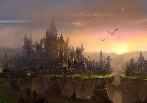 Обои Замок и пролетающие драконы, art by asong0116