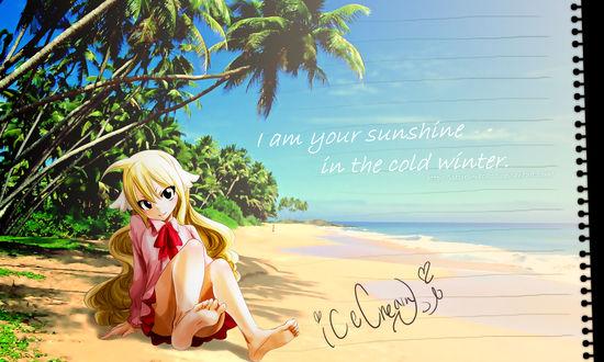 Обои Мавис Вермилион / Mavis Vermillion из аниме Хвост Феи / Fairy Tail (I am your sunshine in the cold winter / Я твое солнце в холодную зиму)