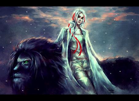 Обои Девушка с бело-красными волосами опирается на черного льва, арт от NanFe