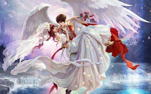 Обои Парень-ангел держит девушку в свадебном платье на руках