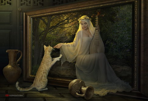 Обои Девушка азиатской внешности, сидевшая в рамке картины с пейзажем, держащая в руке струнный музыкальный инструмент с лежащими рядом глиняными горшками, протянула руку удивленному коту, стоящему перед ней на задних лапах, автор duong quoc dinh