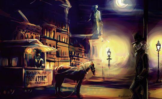 Обои Мужчина стоит у фонарного столба в ночном городе, by sheepSkeleton