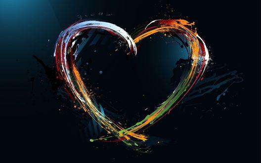 Обои Нарисованное разноцветными красками сердце