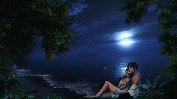 Обои Ночь, луна, пляж, море. мужчина и девушка на берегу обнявшись, мужчина смотрит на бабочку
