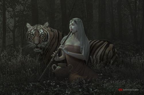 Обои Девушка азиатской внешности, держащая в руках бамбуковую флейту, сидящая на цветочной лужайке рядом с бенгальским тигром на фоне сумеречного леса, автор duong quoc dinh