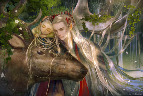 Обои Тhranduil / Трандуил и меленький Legolas / Леголас, герои повести Дж. Р. Р. Толкина «Хоббит, или Туда и обратно»