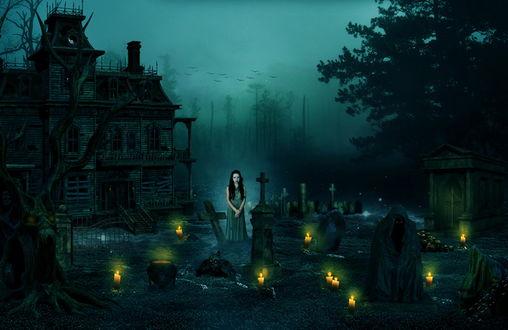 Обои Черноволосая девушка, стоящая на кладбище среди могил, теней людей в черных одеждах на фоне ночного, туманного неба, автор gestandene