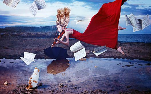 Обои Девушка в красном платье парит над водой и играет на скрипке, рядом сидит кот