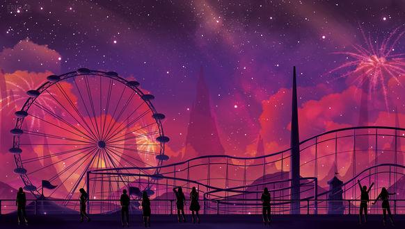 Обои Люди стоят и идут на фоне карусели и ночного звездного неба, работа Festival, by Erisiar