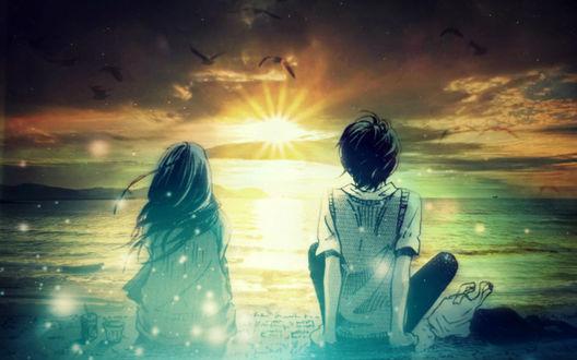 Обои Парень и девушка сидят спинами к нам и любуются закатом солнца, арт by ElizabethCute