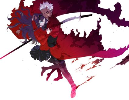 Обои Rin Tohsaka / Рин Тосака и Archer / Арчер из аниме Fate / stay night / Судьба / Ночь схватки, art by NPN