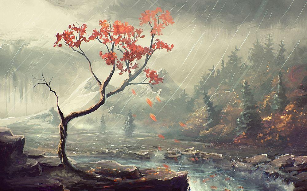 Обои Дерево с опадающими осенними листьями, растущее на ...