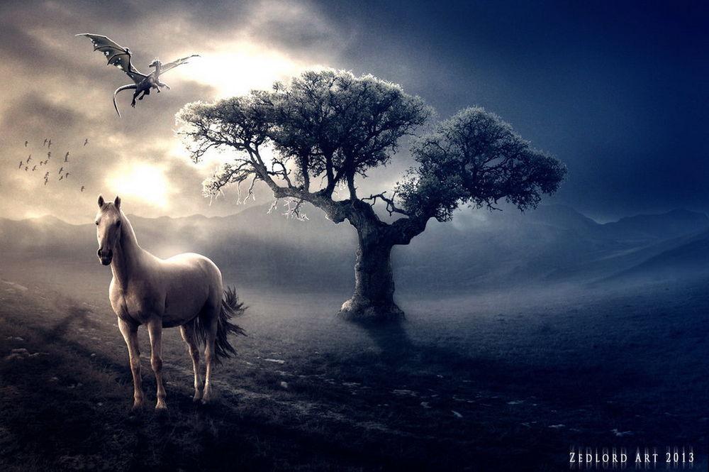 Обои для рабочего стола Белый конь, стоящий невдалеке от дерева на фоне пасмурного неба с пробивающимися сквозь тучи солнечными лучами, парящих птиц и летящего дракона, автор ZedLord-Art