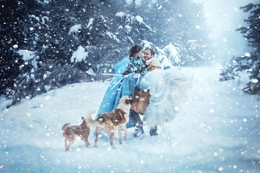 Обои для рабочего стола Мужчина, державший на руках девушку в свадебном платье с букетом цветов под падающим снегом на заснеженной поляне в окружении собак, автор Екатерина Ромакина