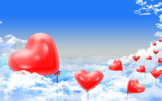 Обои В День всех влюбленных воздушные шарики красного цвета в форме сердечек поднимаются в небо выше облаков