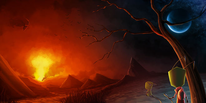 Обои Игрушечные мальчик и его собака смотрят на огненное зарево, by MylaFox