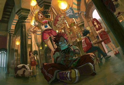 ���� ���� ������� / Natsu Dragnil, ����� / Happy, ���� ��������� / Lucy Hartfiliya, ����� ������� / Erza Scarlet � ���� ���������� / Gray Fullbaster �� ����� ����� ��� / Fairy Tail