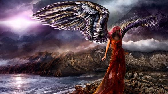 Обои Девушка-ангел стоит на камне у моря, на фоне темных облаков