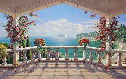 Обои С балкона открывается чудесный вид на море, дома и парусники