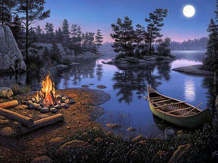 Обои Лесная романтика, лодка и костер на берегу озера