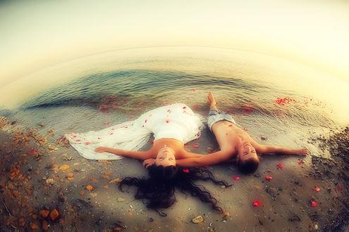 Обои Мужчина и девушка лежат на берегу океана, рассыпаны лепестки роз