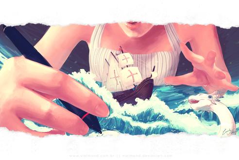 Обои Девушка перед корабликом на воде