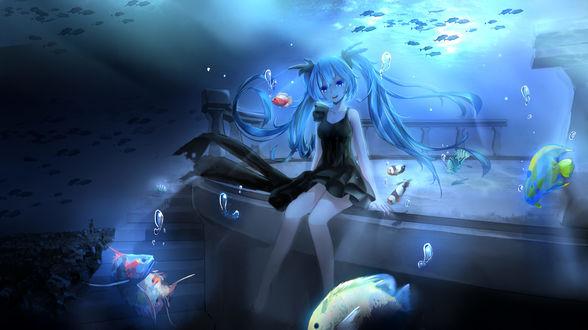 Обои Vocaloid Hatsune Miku / Вокалоид Хатсуне Мику под водой