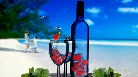 Обои На столике бутылка и бокалы, наполненные сердечками, на берегу моря с белоснежным песком