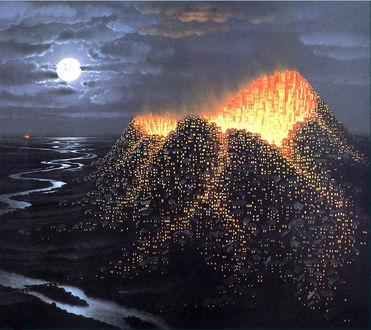 Обои Светящийся в ночи город на вулкане