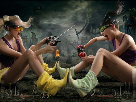 Обои Две девушки сидят напротив друг друга и сражаются как в компьютерной игре