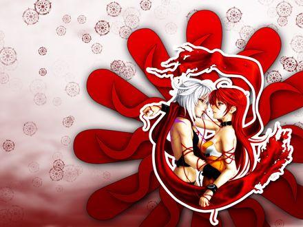 Обои Девушка короткими белыми волосами обнимает девушки с длинными красными волосами и держит во рту красную нить, которой они обе связаны