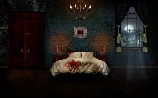 Обои Окровавленная спальня с видом на кладбище, в окно которой заглядывает оборотень