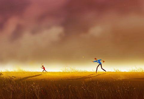 Обои Отец с сыном, играющие в бейсбол на травяной лужайке на фоне пасмурного неба