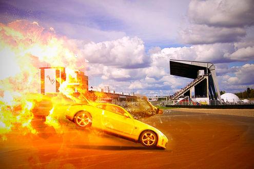 Обои Задняя часть машины в огне