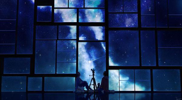 Обои За ночным звездным небом через телескоп, сидя у большого окна в пустом зале, наблюдают девушка, парень и кошка