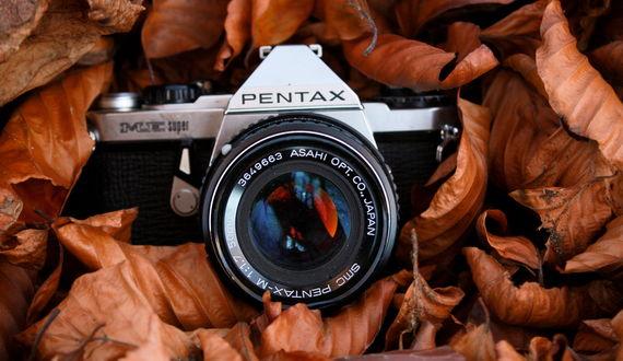 Обои Фотоаппарат PENTAX, лежащий среди осенних листьев