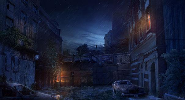 Обои Заброшенный после прошедшего апокалипсиса городок с единственно светящимся окном в доме, поврежденных автомобилей с разбитыми стеклами на фоне ночного неба и сильного дождя