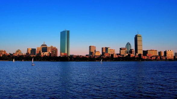 Обои Вечерний город Бостон / Boston, город штата Массачусетс в Соединенных Штатах Америки (США) / a city in Massachusetts in the United States of America (USA)