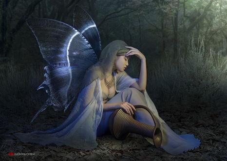 Обои Спящая девушка азиатской внешности с крыльями бабочки за спиной, держащая в руке глиняный горшок, сидящая на опушке леса, автор DUONG QUOC DINH