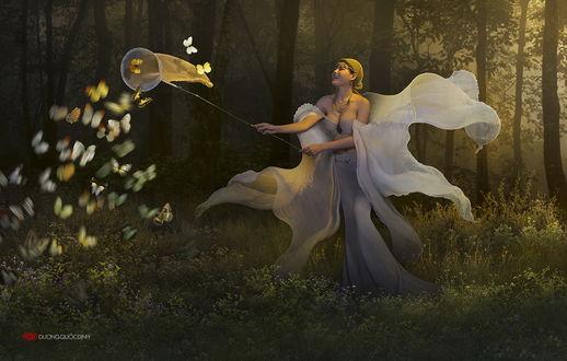 Обои Девушка азиатской внешности, стоящая на лесной опушке, держащая в руках сачок, подводит его к стайке порхающих бабочек, автор DUONG QUOC DINH