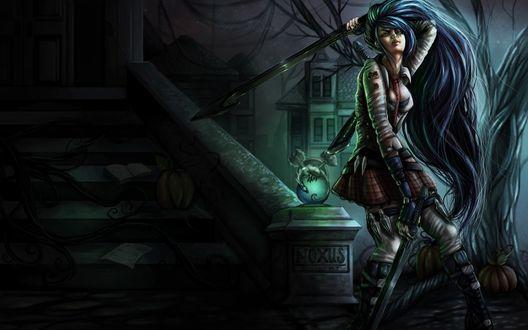 Обои Длинноволосая девушка-воин в школьной форме, с двумя мечами в руках стоит возле лестницы