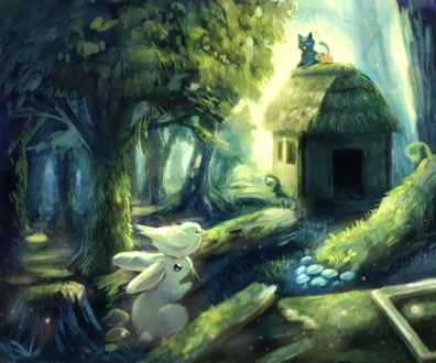 Обои Белый кролик и птичка, сидящая у него на голове, смотрят на дом, на крыше которого сидит кошка и мышь
