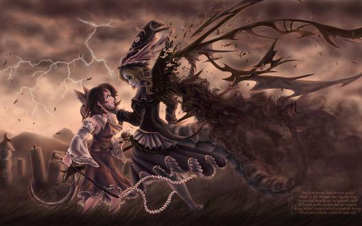 Обои Во время бури, в поле, злая ведьма держит маленькую девочку за подбородок на фоне сверкающей молнии