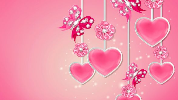 Обои Сердечки и бабочки на розовом фоне