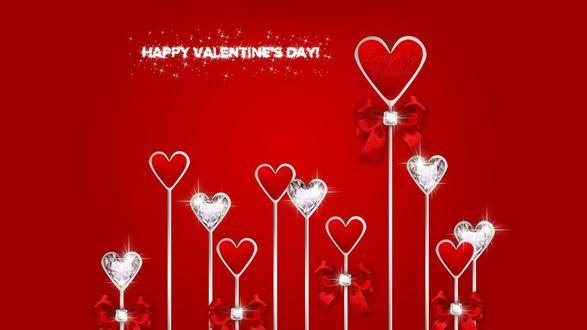 Обои Белые и красные сердечки (HAPPY VALENNINES DAY)