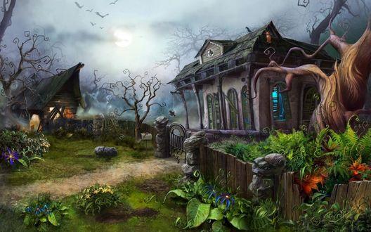Обои Дом в сумеречном лесу