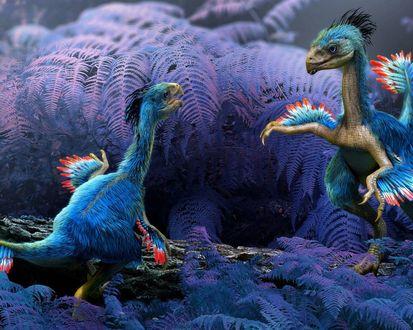 Обои Детеныши динозавра среди листьев фиолетового папоротника