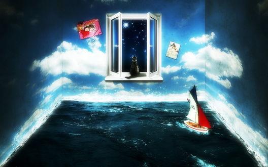 Обои Комната наполненная водой, на стенах обои с нарисованным небом, висят картины, плавает парусник, на окне сидит кот глядя на звезды