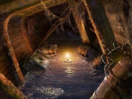 Обои Полузатопленный трюм корабля с плавающими предметами, паутиной и плывущей горящей свече